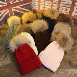 Winter Girls Boys Fur PomPom Beanies Hats Knitted Wool Cap F