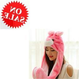 Winter Hats Pink Rabbit Animal Plush Hee Fly with Paws Type