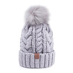 REDESS Women Winter Pom Pom Beanie Hat with Warm Fleece Line