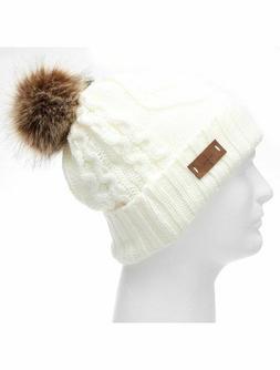 Winter Pom Pom Beanie Hat Fleece Lining Sweater Knit Faux Fu