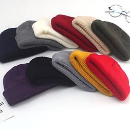 Winter Unisex Black Grey Red Solid Color Rib Knitted <font><