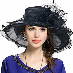 VECRY Women Church Derby Hat Wide Brim Wedding Dress Hat Tea