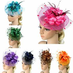 Women Feather Flower Net Hair Accessories Hats Headband Head