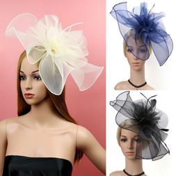 Women Feather Flower Net Hat Hair Accessories Hats Dress Hat