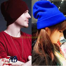 Women Men Hats Winter Warm Knit Cap Ski Hat Beanie Fleece Sn