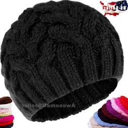 Women Men Winter Warm Slouchy Plain Knit Neanie Cap Ski Hat