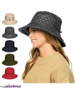 Women Quilted Stitch Water Resistant Rain Hats With Adjustab