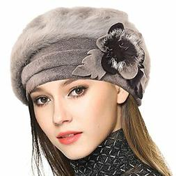 VECRY Women's 100% Wool Bucket Hat Felt Cloche Bow Dress Win