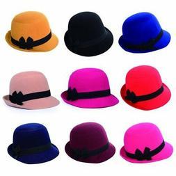 Women's Bowknot Wool Fedora Hats Winter Warm Bowler Caps Vin