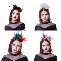 Women's Feather Headband Fascinators Top Hats Wedding Hair A
