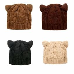 Women's Girls Winter Warm Hat Cute Cat Ear Hats Knitted Bean