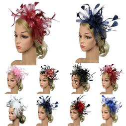 Women's Hair Accessory Clip Feather Mesh Wedding Bridal Part