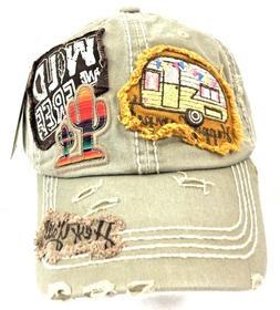 Kbethos Women's Happy Camper Vintage Baseball Hat Cap Khaki