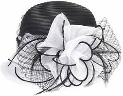 VECRY Women's Hat White Black One Size Fascinator Sweet Cute