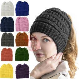 Women Messy Bun Hat Knit Ponytail Baggy Beanie Fleece Oversi