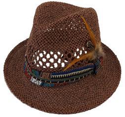 Women's Straw Fedora Gambler Floppy Hat for vacation travel