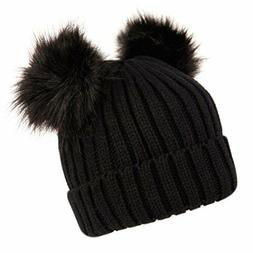 Women's Winter Chunky Knit Beanie Hat with Double Faux Fur P