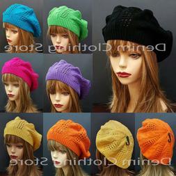 Women Summer Spring Winter  Crochet Knit Slouchy Beanie Bere