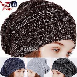 Women Men Winter Warm Plain Knit Slouchy Neanie Cap Ski Hat