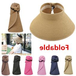 For Women Summer Straw Hat Visor Fold able Roll Up Wide Brim