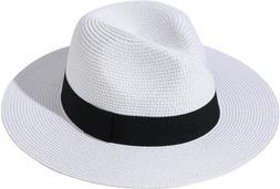 Lanzom Women Wide Brim Straw Panama Roll up Hat Fedora Beach