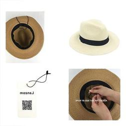 Lanzom Women Wide Brim Straw Panama Roll Up Hat Fedora Beach