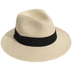 women wide brim straw panama roll up