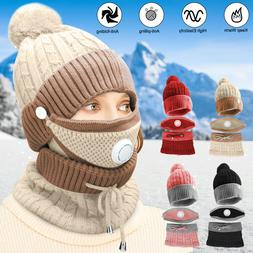 Women Winter Warm Beanie Hat Cap Knitted Scarf Set Skull Out