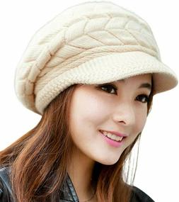 Hindawi Women Winter Warm Knit Hat Wool Snow Ski Caps With V