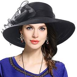 VECRY Womens Dressy Church Baptism Wedding Derby Hat Black,M