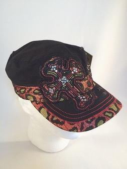 Womens KBETHOS Hat Distressed Black Animal Print Rhinestone