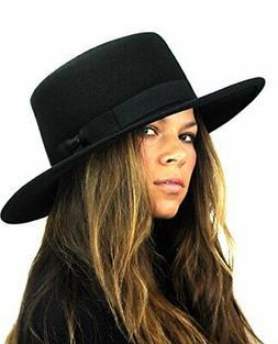 NYFASHION101 Wool Wide Brim Porkpie Fedora Hat w/Simple Band