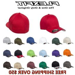 Flexfit Wooly Combed Twill Fitted Plain Baseball Cap Hat 6 P